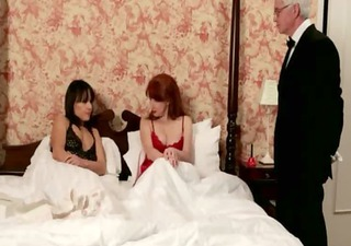 cfnm tug mature cock after sleepover in bedroom