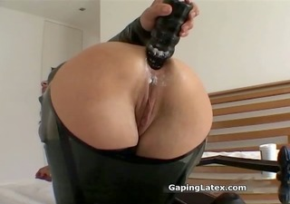 dirty brunette hair bitch goes crazy dildo part4