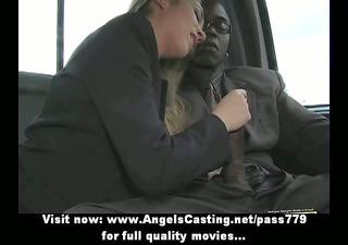 Lovely blonde amateur milf having interracial sex