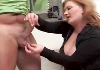 mature redhead gives this dude a cook jerking