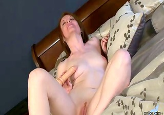 pale redhead mother i in heels penetrates herself